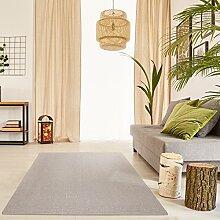 Schlingen Teppich Everest - Farbe: Beige Grau Caramel Anthrazit oder Rot | hochwertige und strapazierfähige Qualität | Fußbodenheizung geeignet | für Wohnzimmer Schlafzimmer Kinderzimmer und Büro, Farbe:Beige, Größe:160 x 160 cm