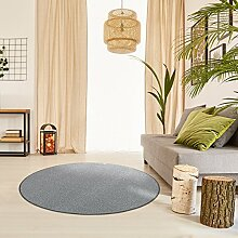 Schlingen Teppich Everest rund - Farbe: Beige Grau Caramel Anthrazit oder Rot | hochwertige und strapazierfähige Qualität | Fußbodenheizung geeignet | für Wohnzimmer Schlafzimmer Kinderzimmer und Büro, Farbe:Anthrazit, Größe:160 cm rund
