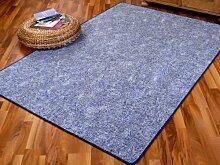 Schlingen Teppich Memory Blau Meliert in 24