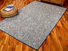 Schlingen Teppich Memory Grau Blau Meliert in 24