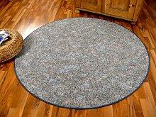 Schlingen Teppich Memory Grau Blau Meliert Rund in