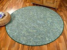 Schlingen Teppich Memory Grün Meliert Rund in 7