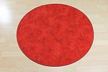 Schlingen Teppich Paint Rot rund Größe 180cm rund