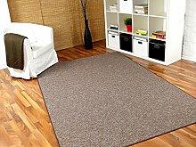Schlingen Teppich Primo Braun Beige in 24 Größen