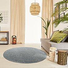 Schlingen Teppich Snake rund - Farbe wählbar | Geprüfte Qualität: schadstoffgeprüft antistatisch robust und pflegeleicht | u.a. für Wohnzimmer Schlafzimmer Flure und auch für Fußbodenheizung geeignet, Farbe:Anthrazit, Größe:267 cm rund