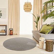 Schlingen Teppich Snake rund - Farbe wählbar | Geprüfte Qualität: schadstoffgeprüft antistatisch robust und pflegeleicht | u.a. für Wohnzimmer Schlafzimmer Flure und auch für Fußbodenheizung geeignet, Farbe:Hellbraun, Größe:133 cm rund