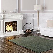 Schlingen Teppich Stanford - Farbe: Grau Blau Anthrazit Grün oder Rot | besonders strapazierfähige Qualität | Fußbodenheizung geeignet | für Wohnzimmer Schlafzimmer Kinderzimmer und Büro, Farbe:Grün, Größe:160 x 240 cm