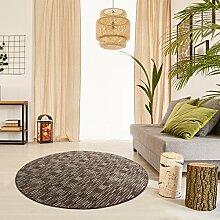 Schlingen Teppich Torro rund - Farbe wählbar | Geprüfte Qualität: die Teppiche sind schadstoffgeprüft robust und pflegeleicht | u.A. für Wohnzimmer Schlafzimmer Flure und auch Fußbodenheizung geeignet, Farbe:Braun, Größe:80 cm rund