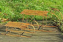 Schlitten Dekoschlitten Eisen rost, Gartendeko Türdeko L 57 - 75 cm 2er Se