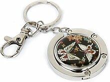 Schluessel Ring - SODIAL(R)Handtaschenhalter Haken Kleiderbuegel Tasche Halter Schmetterling Muster mit Schluessel Ring