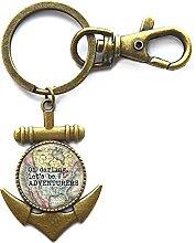Schlüsselanhänger aus Glas mit Anker-Zitat und