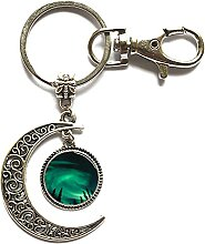 Schlüsselanhänger aus Glas mit Cacochon-Mond,