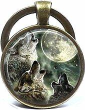 Schlüsselanhänger aus Glas mit Wolf-Motiv, aus