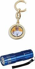Schlüsselanhänger bunt drehbar Papst Franziskus / Petersdom 9 cm mit LED Alu Taschenlampe