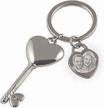 Schlüsselanhänger Herzschlüssel + Foto- und Textgravur / Edelstahl / Herzform / Geschenkidee für Verliebte