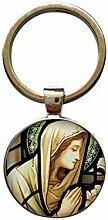 Schlüsselanhänger mit Jungfrau Maria, rund,