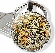 Schlüsselanhänger mit Landkarte im Vintage-Stil