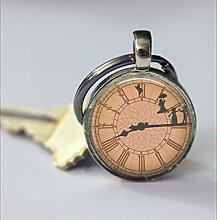 Schlüsselanhänger mit Uhr, Vintage-Uhr,