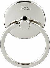 Schlüsselanhänger Schnuller mit Gravur - Geschenk zur Geburt / Taufe - Geschenk für Mütter (Gravur: Schreibschrift)