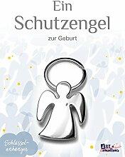 Schlüsselanhänger - Schutzengel zur Geburt - poliertes Metall - Geschenkidee für deinen Lieblingsmenschen - Glücksbringer auf all deinen Wegen