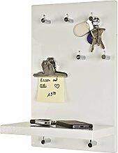 Schlüsselboard in weiß mit 7 Haken und Ablage;