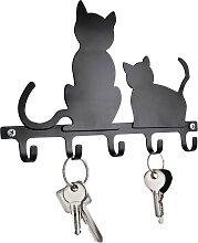 Schlüsselboard Katzen, schwarz
