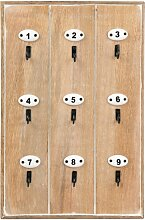 Schlüsselbrett aus Mangoholz und Metall, beige