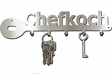 Schlüsselbrett / Hakenleiste * Chefkoch * - Küchenleiste, Schlüsselboard, Schlüsselleiste, Edelstahl - 5 Haken