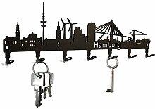 Schlüsselbrett / Hakenleiste * Hamburg Skyline *