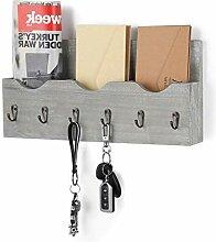 Schlüsselbrett mit Briefablage aus Holz mit 6