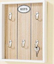 Schlüsselbrett Schlüsselboard braun weiß Holz