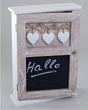 Schlüsselkasten aus Holz mit Herzen und Tafelfläche H. 30cm Formano (17,90 EUR / Stück)