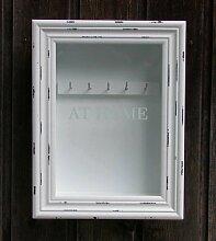 Schlüsselkasten mit Glaseinsatz, Holz weiß,