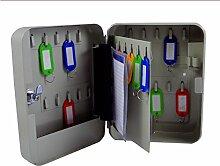 Schlüsselkasten, Schlüsselschrank, Schlüsseltresor, Safe abschliebar, Tresor (30 Schlüsselhaken, beige)