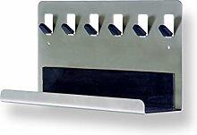 Schlüsselleiste mit Ablage und 6 Haken, Stahl