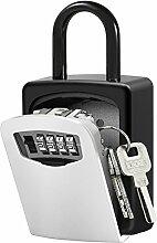 Schlüsseltresor, Xboze Schlüsselsafe für Aussen mit 4-Stelliges Zahlencode Kombination Schlüsselbox Wandmontage Innen für hr Zuhause, Fabrik, Dekorationsfirma, Auto, Büros und Garagen (Silber)