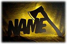 Schlummerlicht24 3d Axt Design Led Lampen Nachtlicht Der Holzfäller Werkzeuge lustige witzige Herren Männer-Geschenke mit Namen, für Handwerker Werkstatt Büro Arbeits-Zimmer Deko Namens-Geschenk
