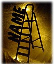 Schlummerlicht24 3d Led Leiter Lampe Nachtlicht Werkzeuge lustige witzige Männer-Geschenke mit Namen, für Handwerker Deko-Lampe Werkstatt Büro Arbeits-Zimmer Maler Dach-Decker Namens-Geschenk