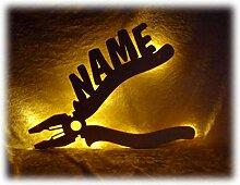 Schlummerlicht24 3d Led Zange Lampe Nachtlicht Werkzeuge lustige witzige Männer-Geschenke mit Namen, für Handwerker Deko-Lampe Werkstatt Büro Arbeits-Zimmer Maler Auto-Mechaniker Namens-Geschenk