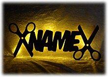 Schlummerlicht24 Led Holz Möbel Deko Friseur-Geschenk Schere Lampe Nachtlicht lustige witzige lustige Haar-Schneide Frauen-Geschenke mit Namen, für Friseure Friseur-Salon