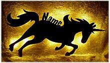 Schlummerlicht24 Led Wand_Lampe Einhorn mit Name,