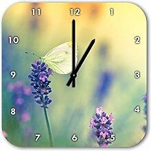 Schmetterling auf Lavendel, Wanduhr Quadratisch