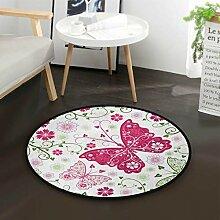 Schmetterling Blume Runde Teppich für Wohnzimmer