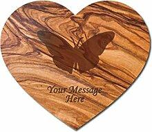 Schmetterling Design Olivenholz Schneidebrett–personalisierbar mit Text Ihrer Wahl, holz, Herz