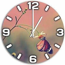 Schmetterling, Design Wanduhr aus Alu Dibond zum Aufhängen, 30 cm Durchmesser, schmale Zeiger, schöne und moderne Wand Dekoration, mit qualitativem Quartz Uhrwerk