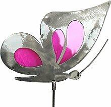 Schmetterling Gartenstecker aus Edelstahl und Glas in Pink Blumenstecker Gartendeko