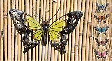 Schmetterling Glow in the Dark Metall Wand Deko Eisen Garten Wandschmuck Falter, Farbe:Gelb