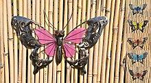 Schmetterling Glow in the Dark Metall Wand Deko Eisen Garten Wandschmuck Falter, Farbe:Rosa