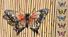 Schmetterling Glow in the Dark Metall Wand Deko Eisen Garten Wandschmuck Falter, Farbe:Orange