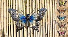 Schmetterling Glow in the Dark Metall Wand Deko Eisen Garten Wandschmuck Falter, Farbe:Blau